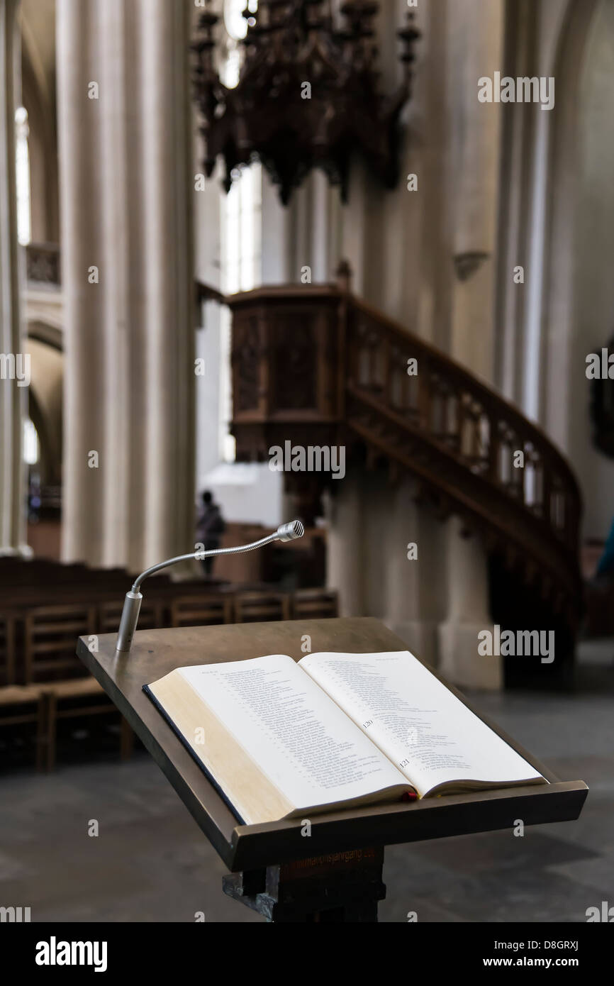Picture of wooden lectern in church - Stock Image