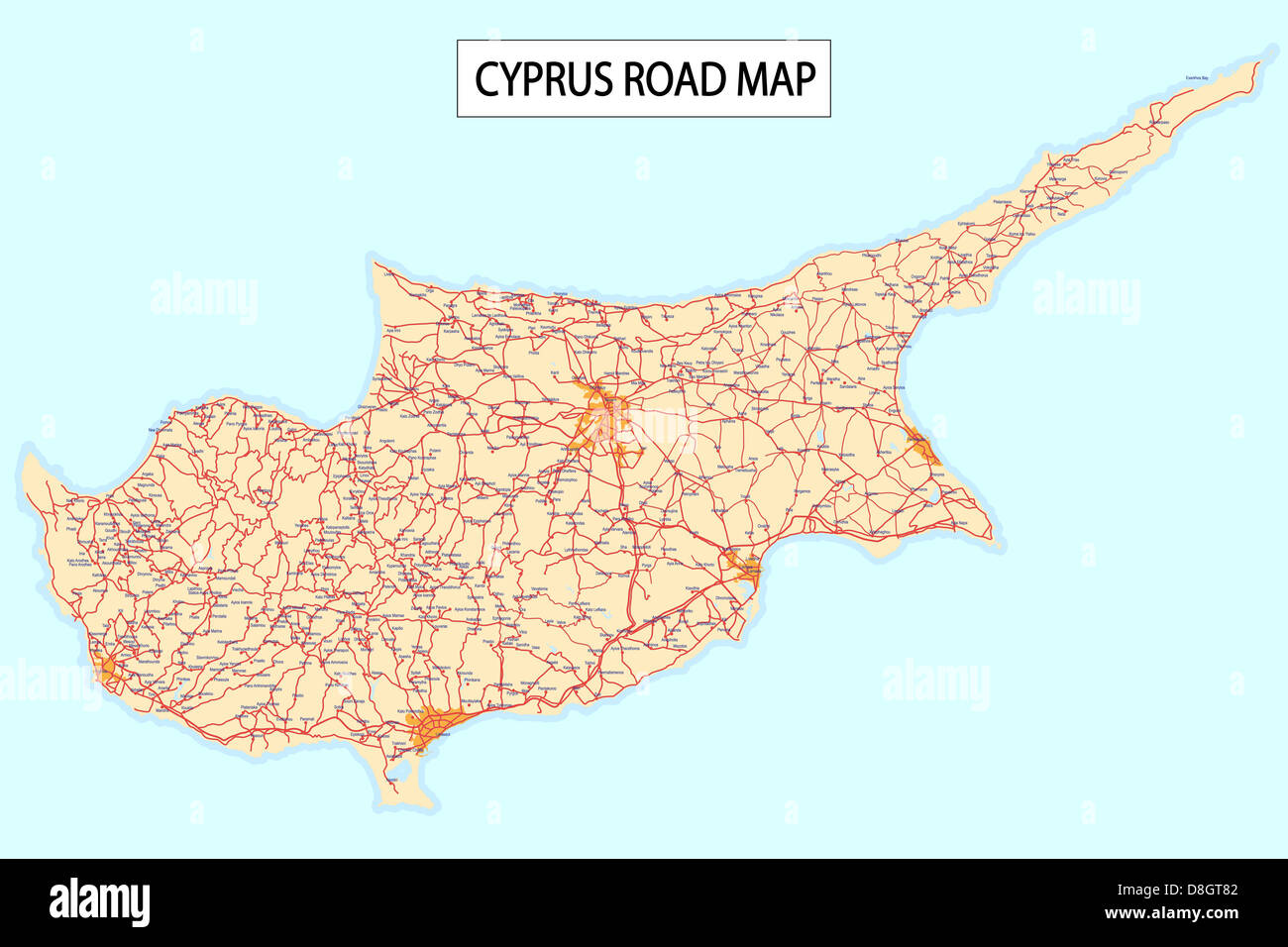 Cyprus road map Stock Photo 56918626 Alamy