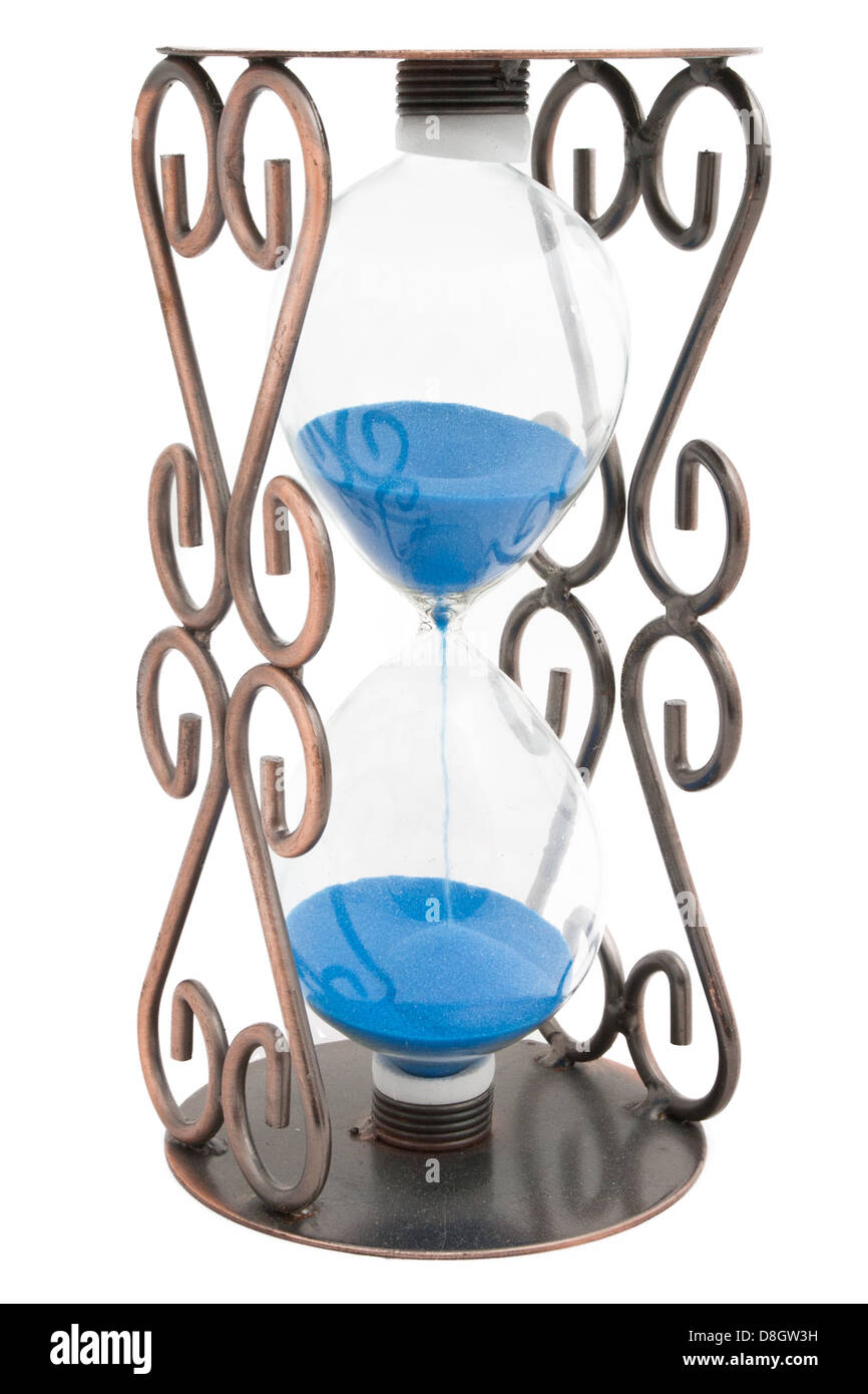 Hourglass with blue sand in a metal frame isolated on white Stock ...
