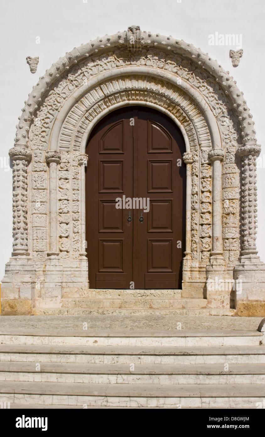 historically church door, Alvor, Portugal - Stock Image