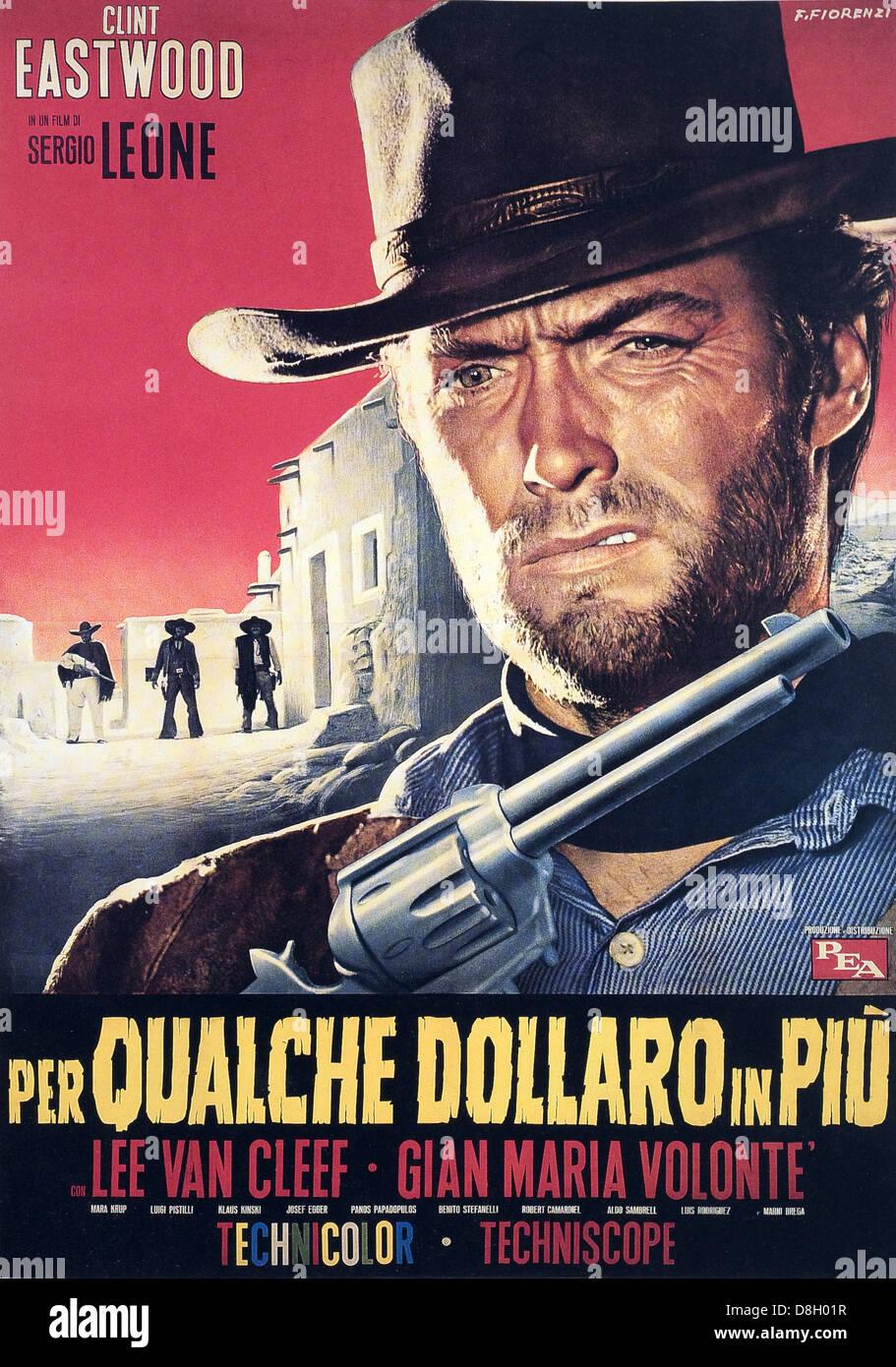 Per Qualche Dollaro in piu Original Italian Movie Poster Clint Eastwood; Sergio Leone - Stock Image