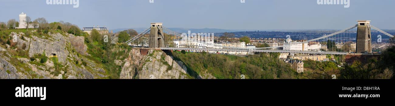 Panorama of Brunell's Clifton Suspension Bridge over Avon Gorge, Bristol - Stock Image