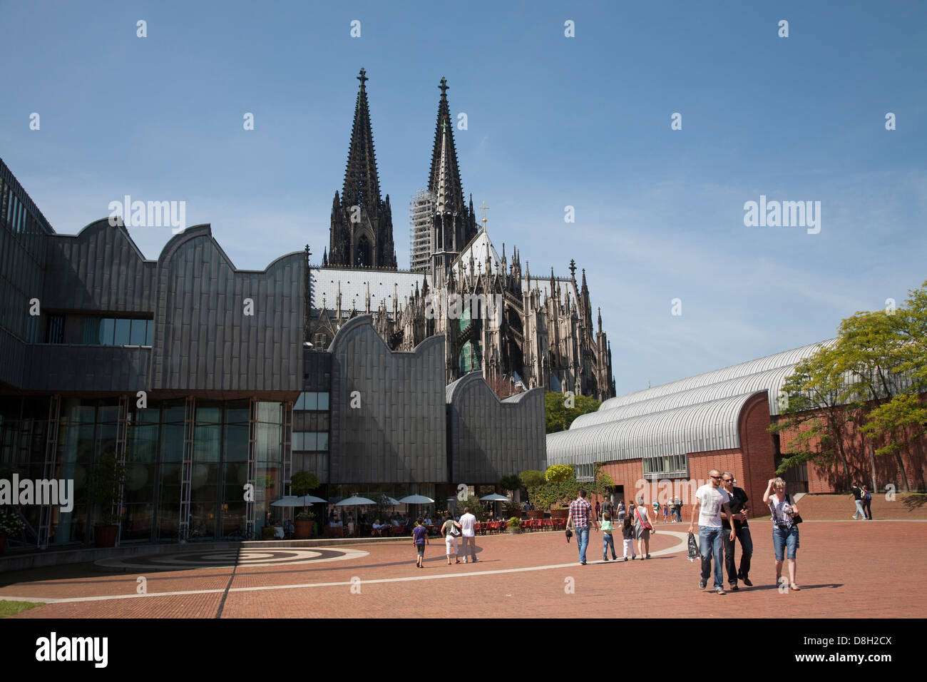 Museum Ludwig and Cathedral, Heinrich-Böll-Platz, Cologne, Germany - Stock Image