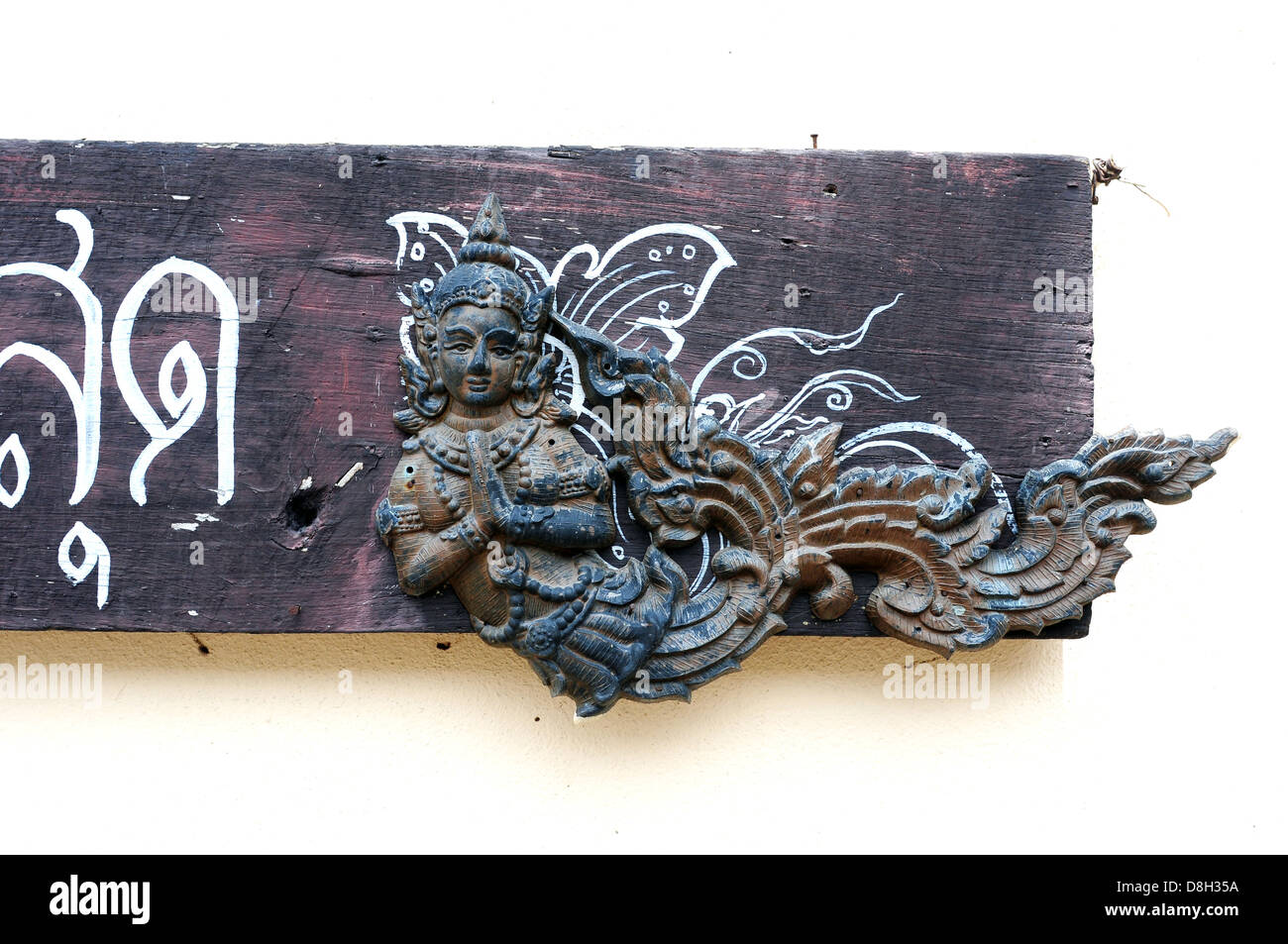 Thai art door doorplate angel carving Wooden wood goddess