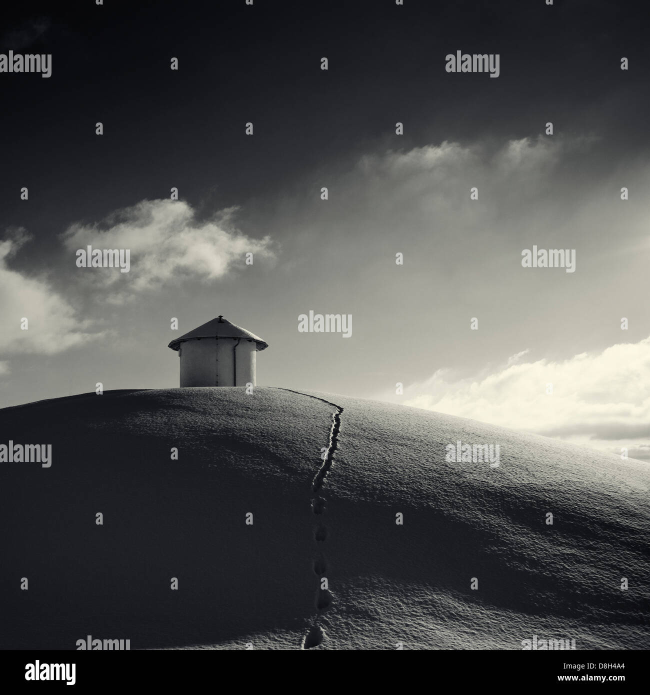 Water reservoir in the winter - Stock Image