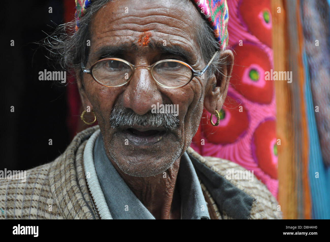 Portrait of a mature man, India, Himachal Pradesh, Tosh Valley - Stock Image