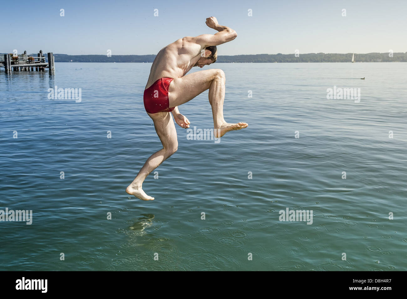 jumping into the water Stock Photo: 56925323 - Alamy