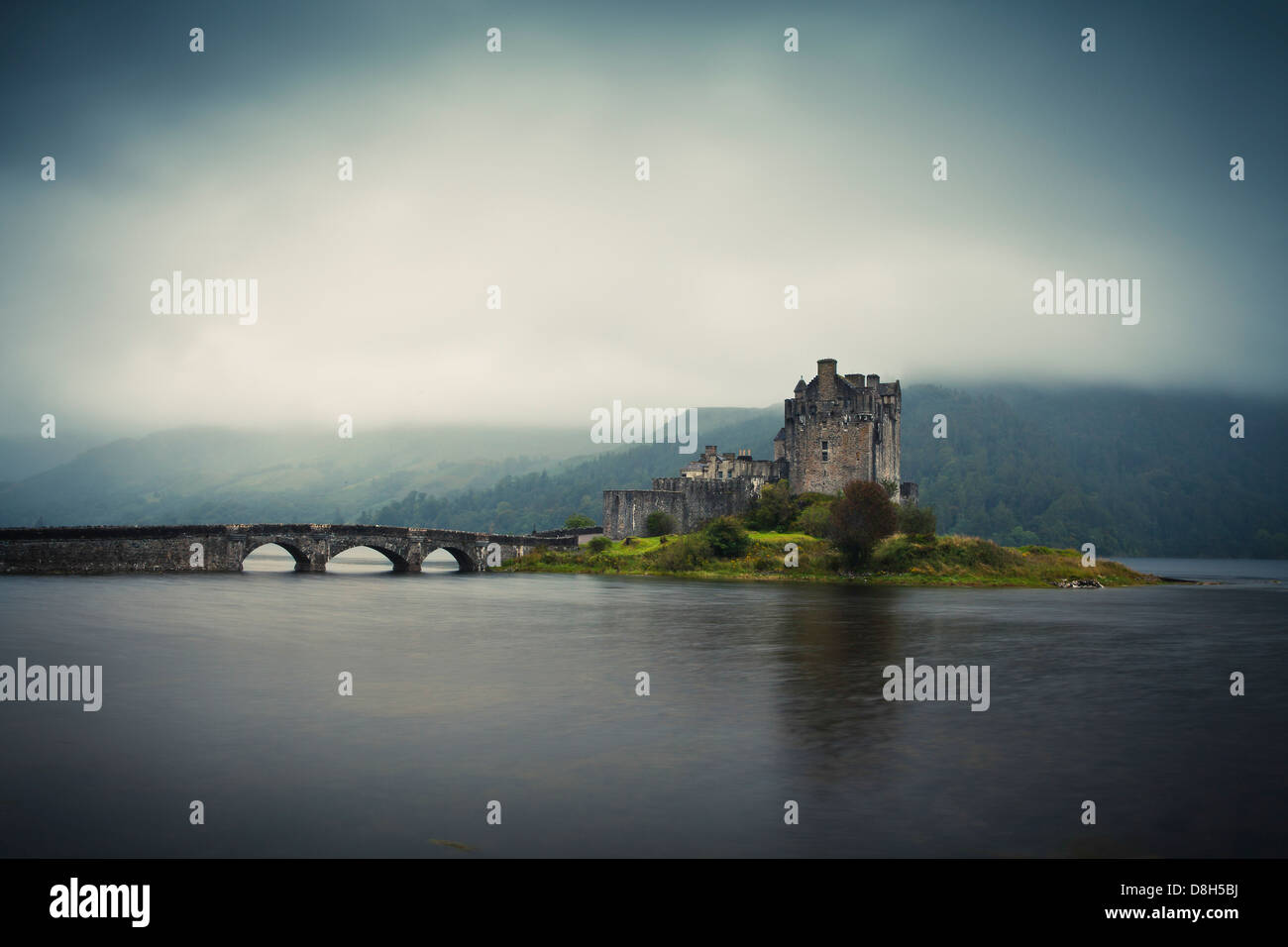 Eilean Donan Castle in the evening, Highlands, Scotland, United Kingdom - Stock Image