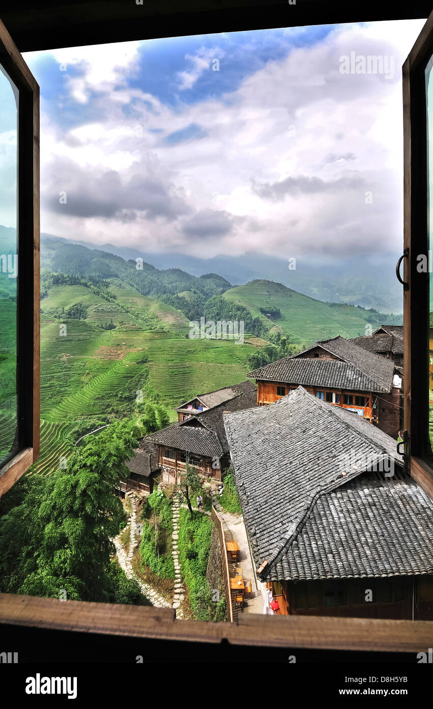 View from a hilltop village at the Dragon's Backbone rice terraces, Guangxi Province, China - Stock Image