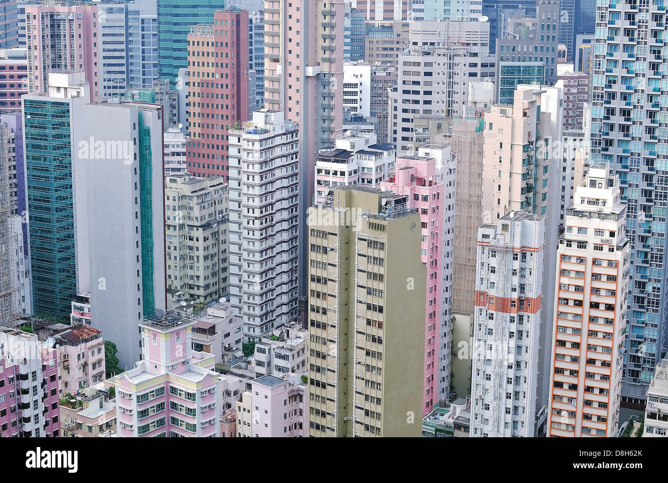 High density skyscrapers in the Wan Chai district of Hong Kong island - Stock Image