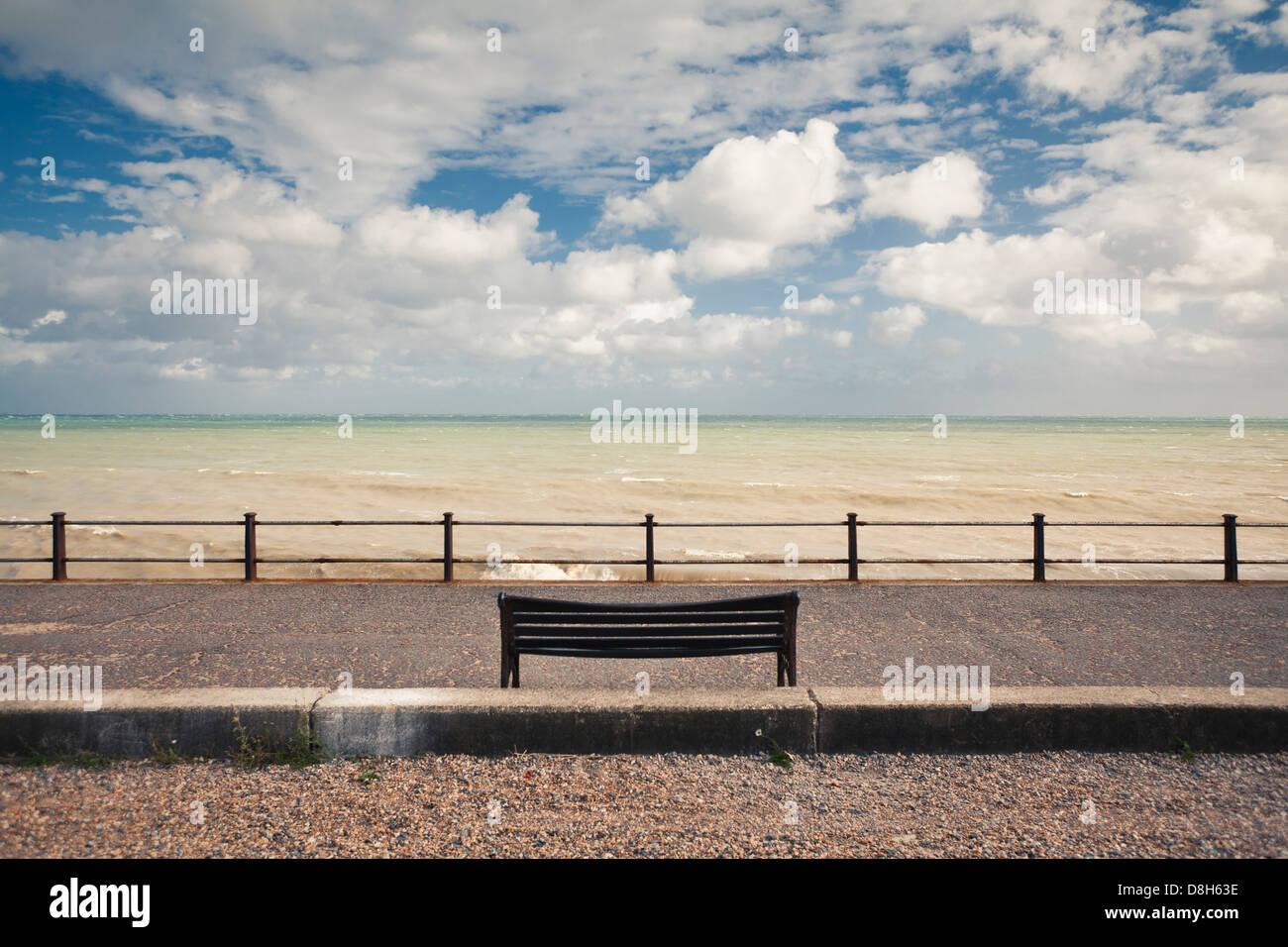 Bench on the coast, Dover, England, United Kingdom Stock Photo