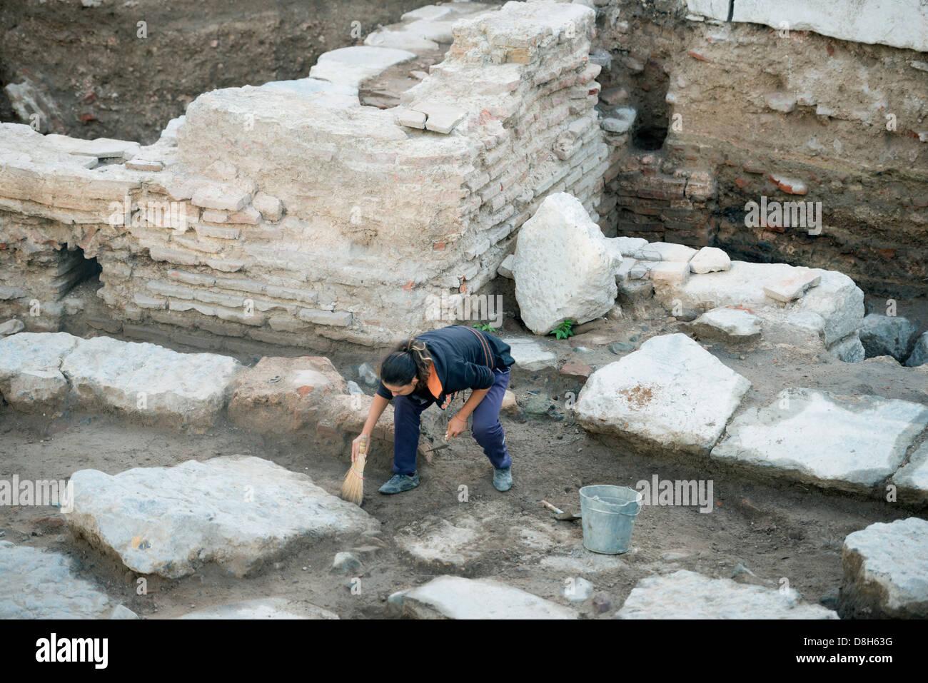 Europe, Bulgaria, Sofia, archaeological dig - Stock Image