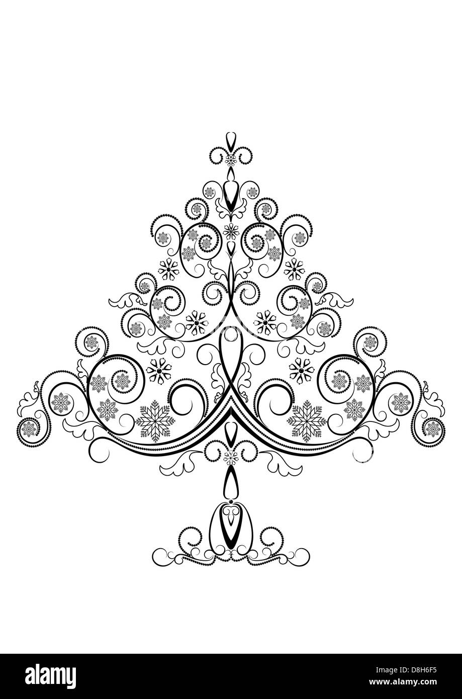Openwork Christmas tree with snowflakes - Stock Image