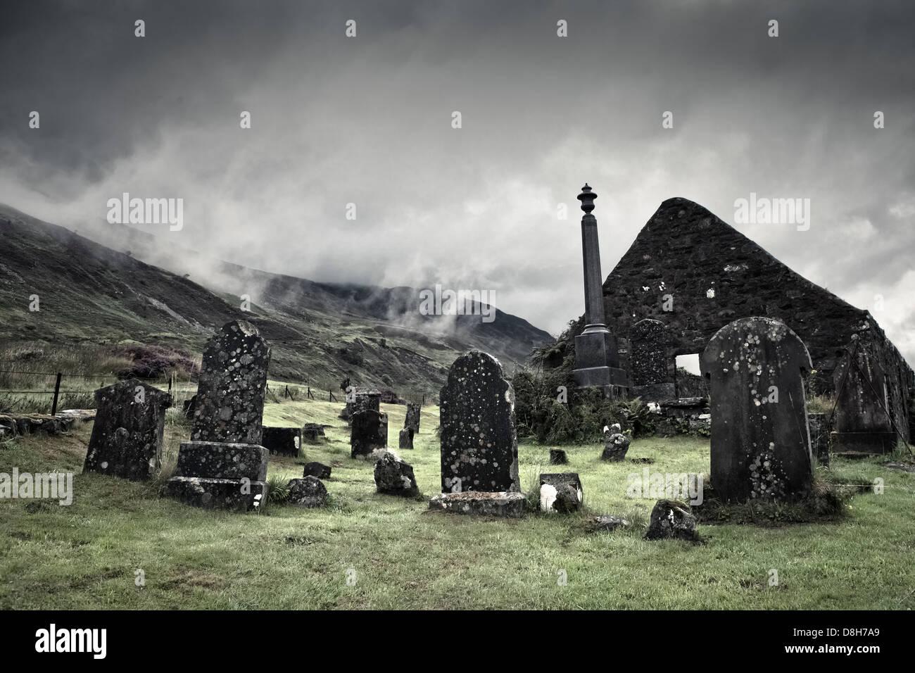 Old cemetery in the village of Dornie, Scotland - Stock Image