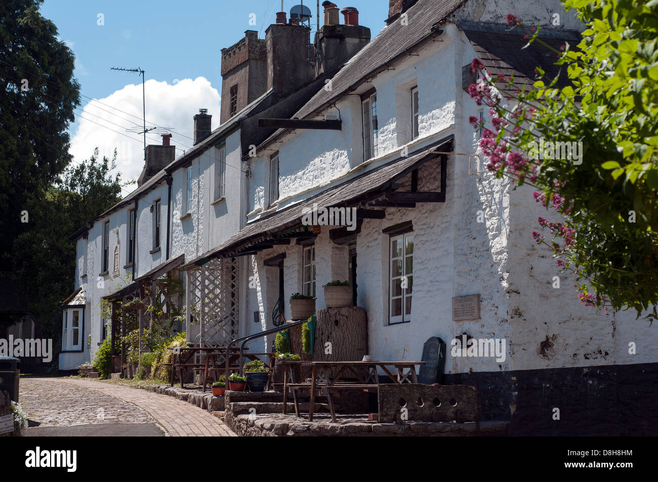Cottages at Stoke Gabriel is a village and parish in Devon, England,South Devon Area Of Outstanding Natural Beauty - Stock Image