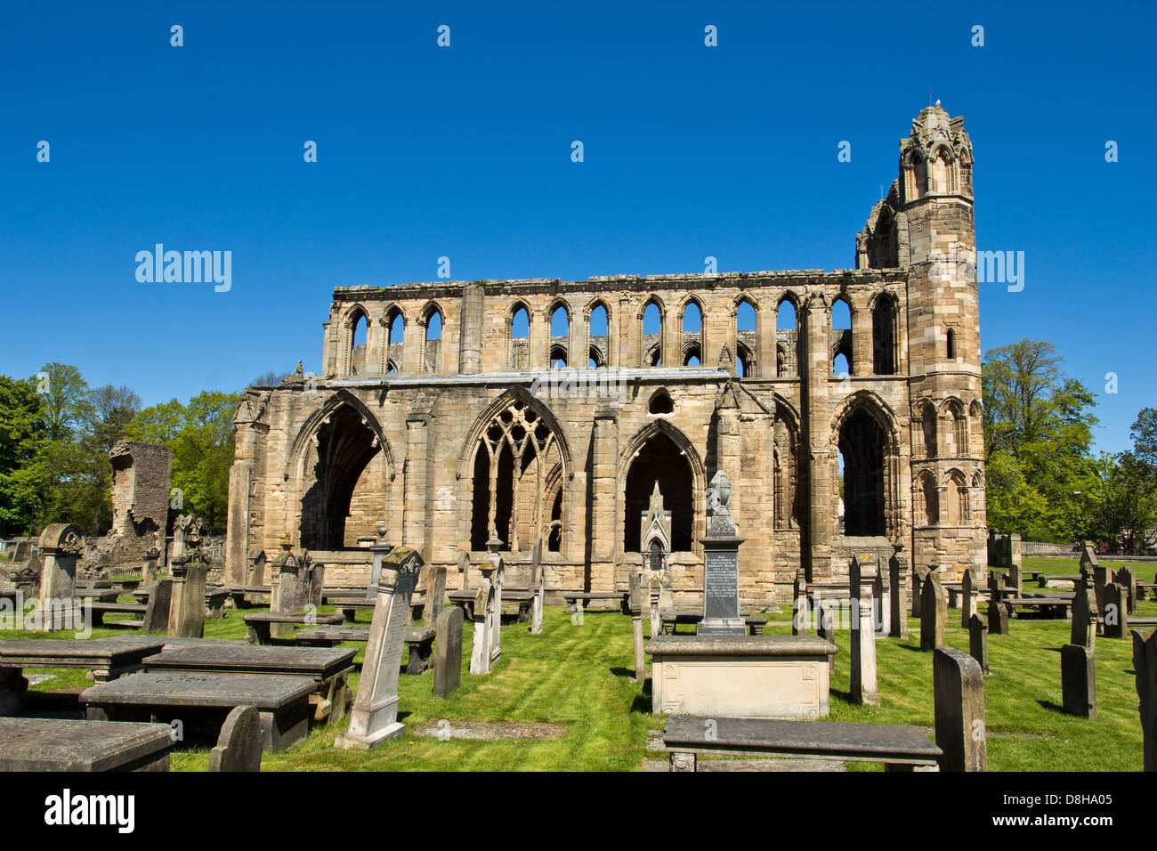 ELGIN CATHEDRAL IN EARLY SPRING A VIEW FROM ONE OF THE SIDES MORAY SCOTLAND Stock Photo