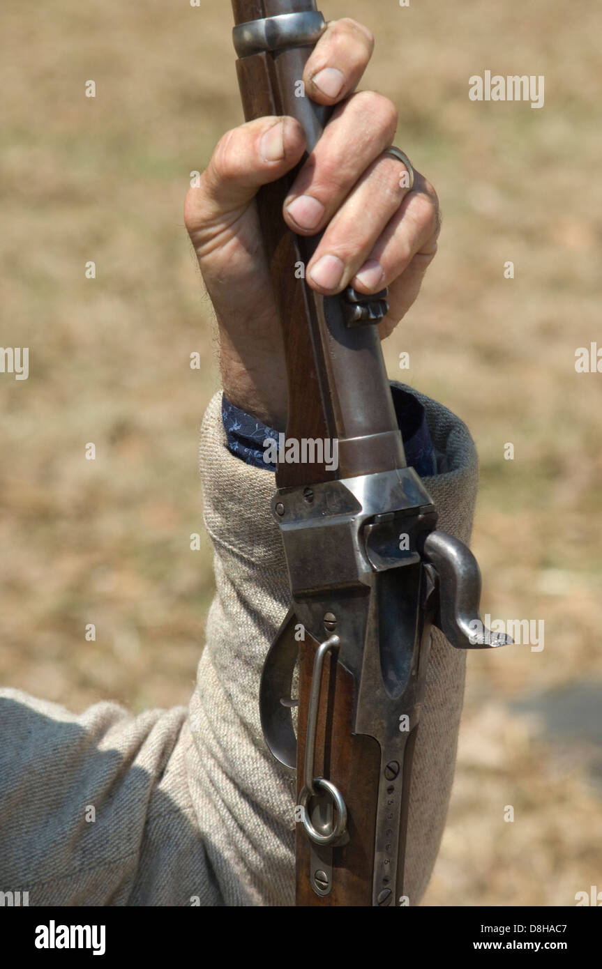 Closeup of a Confederate cavalry carbine, Shiloh National Military Park, Tennessee. Digital photograph - Stock Image