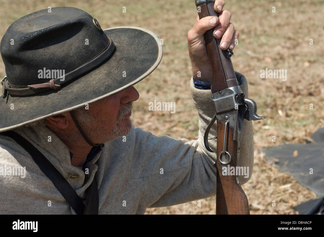 Confederate cavalry reenactor with a carbine, Shiloh National Military Park, Tennessee. Digital photograph - Stock Image