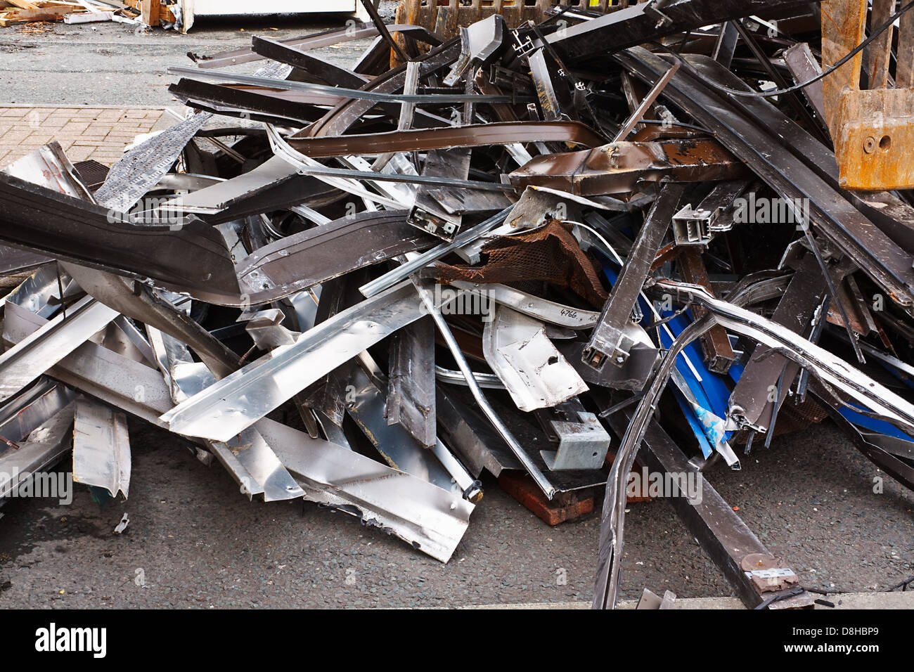Scrap metal waste of iron and aluminum for recycling at a