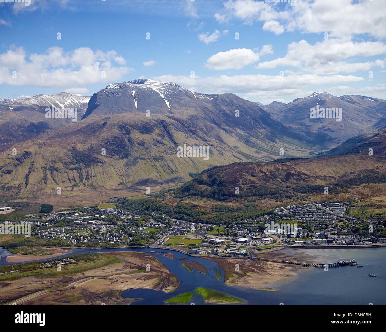 Ben Nevis and Fort William from the air, North West Highland Scotland Stock Photo
