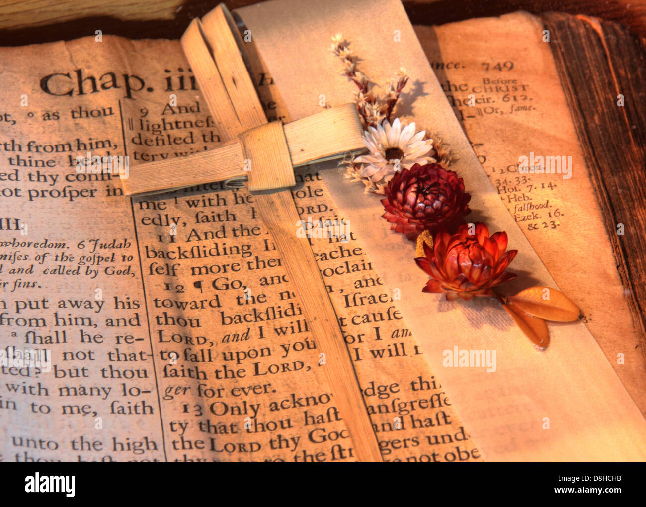 A Very old and veritable bible from St Michaels, Middlewich, Cheshire England. Note the 's's rendered in the style Stock Photo