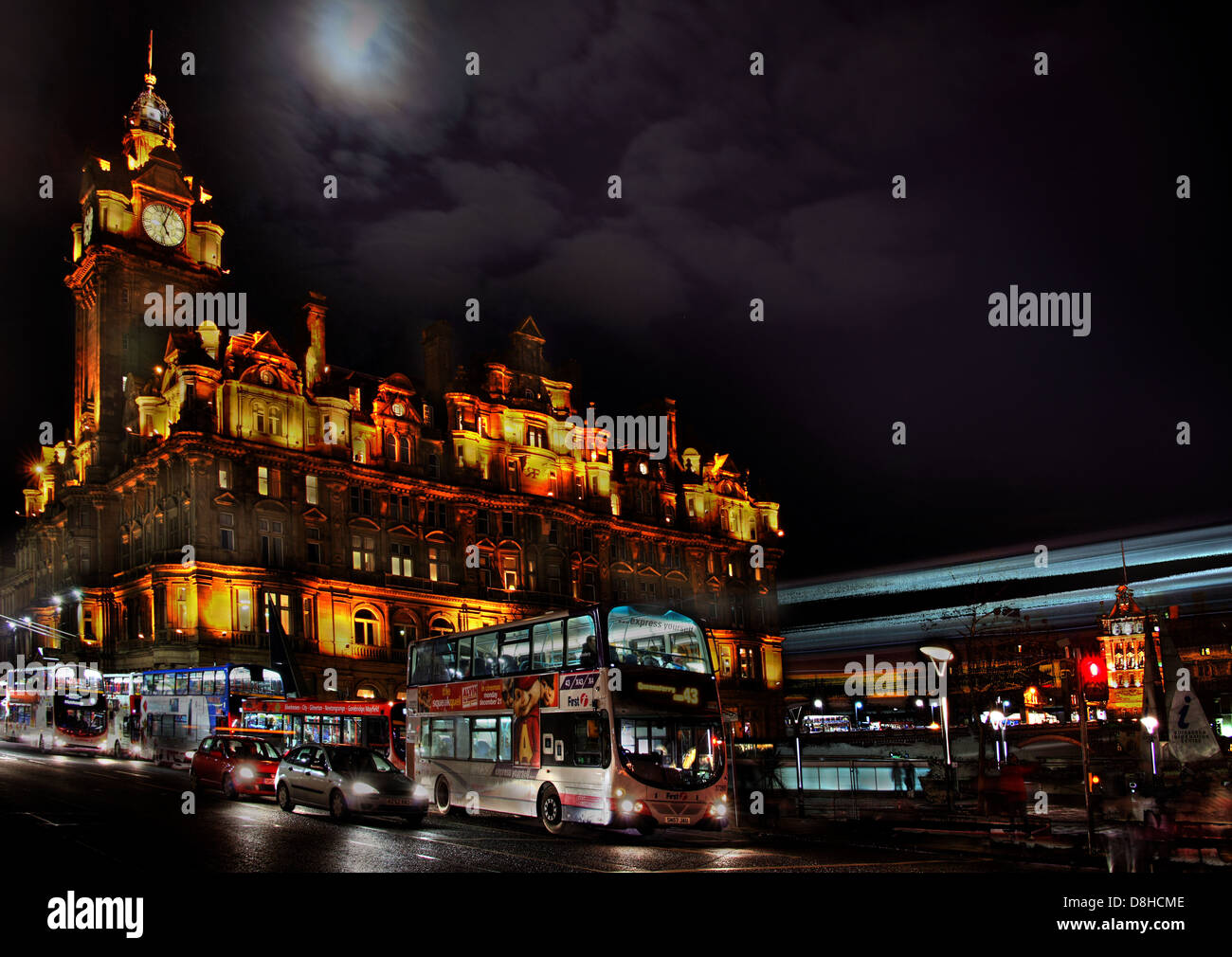 Rocco Forte Balmoral luxury hotel, Princes St, Edinburgh city Midlothian Scotland UK at dusk - Stock Image