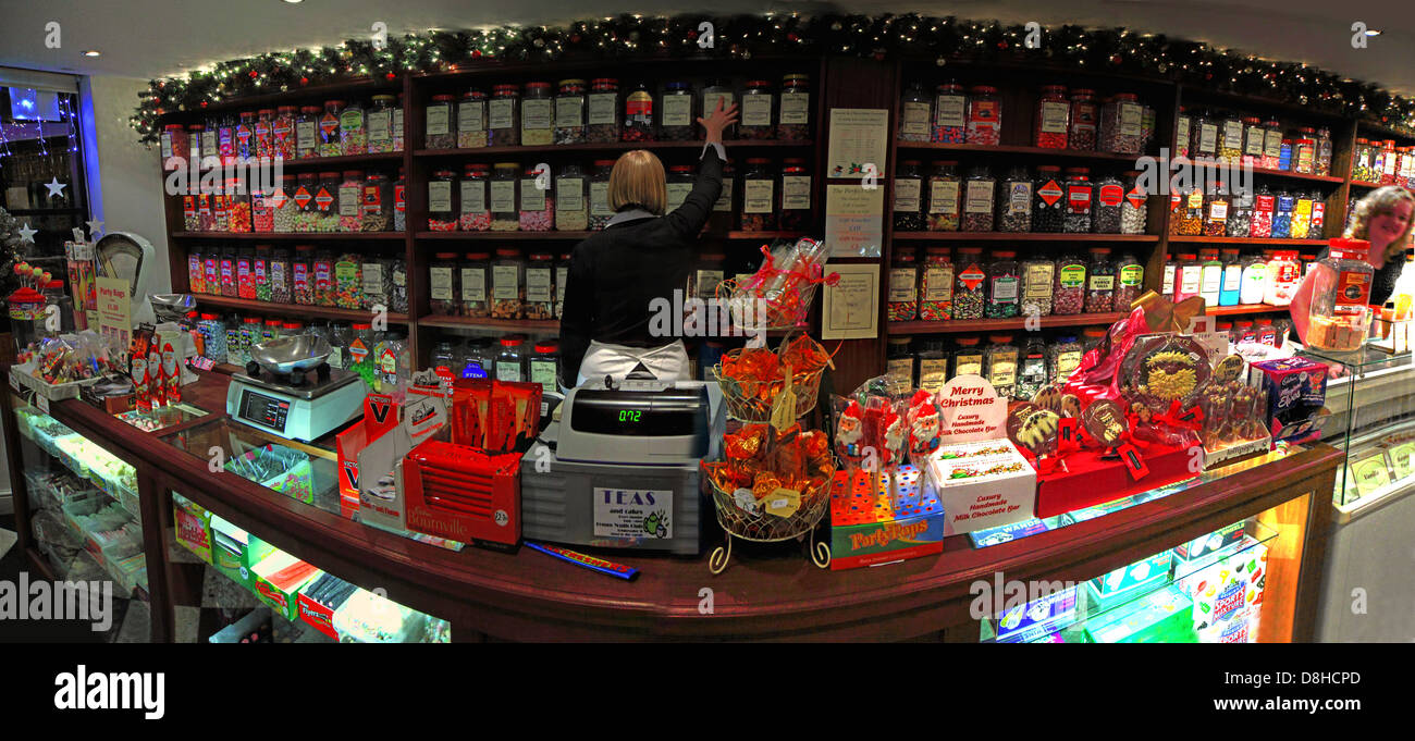 The traditional sweet shop in Lymm Cheshire at Christmas - Stock Image