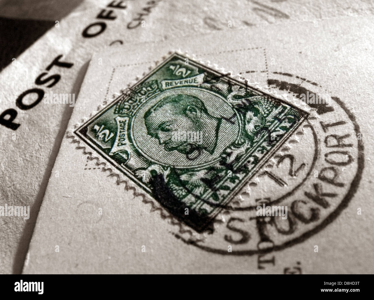 Green Half Penny British Stamp postmarked Stockport Cheshire England UK - Stock Image