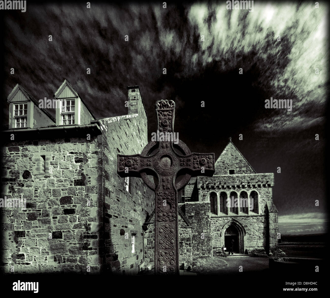 Iona cross Inner Hebrides Scotland in Monochrome Stock Photo
