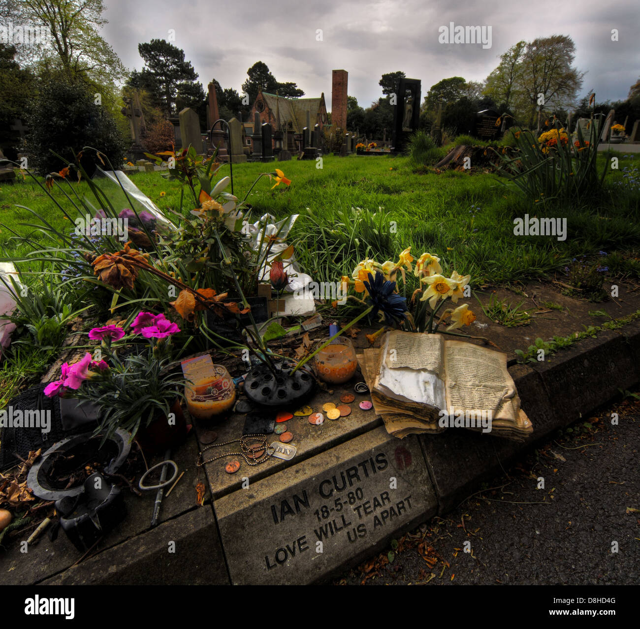The Gravestone in Macclesfield Cemetery of Ian Curtis , vocalist of Manchester Joy Division Rock Band died 18-5 - Stock Image