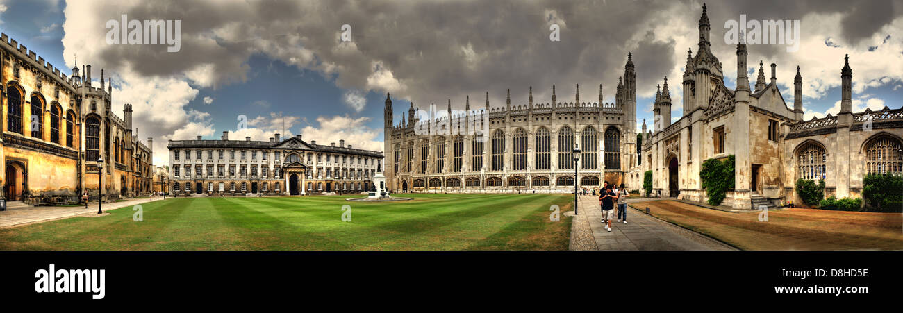 Panorama of Kings University College Cambridge - Stock Image