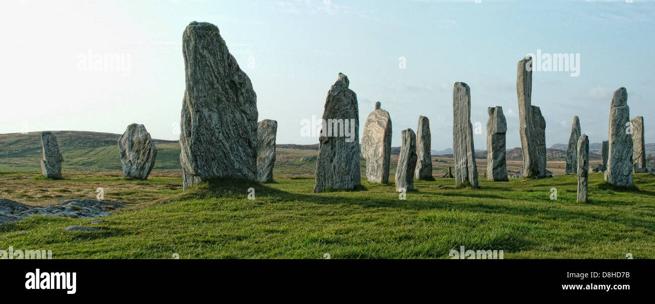 Wide shot of the Standing Stones isle of lewis Callanish , Scotland - Stock Image