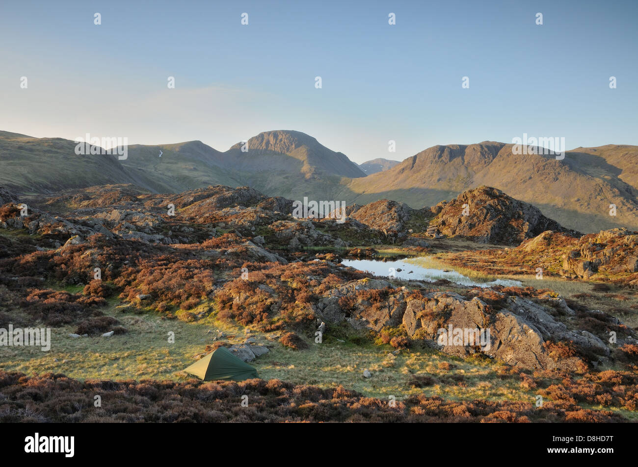 Wild camping next to Innominate Tarn on the summit of Haystacks in the English Lake District Stock Photo