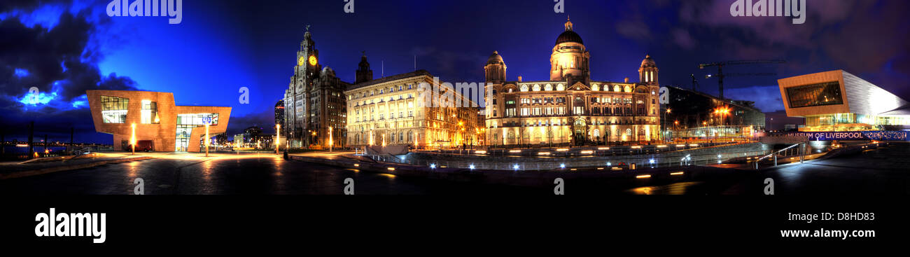 Dusk panorama of the three graces on the Liverpool dock front at the Pier Head Stock Photo