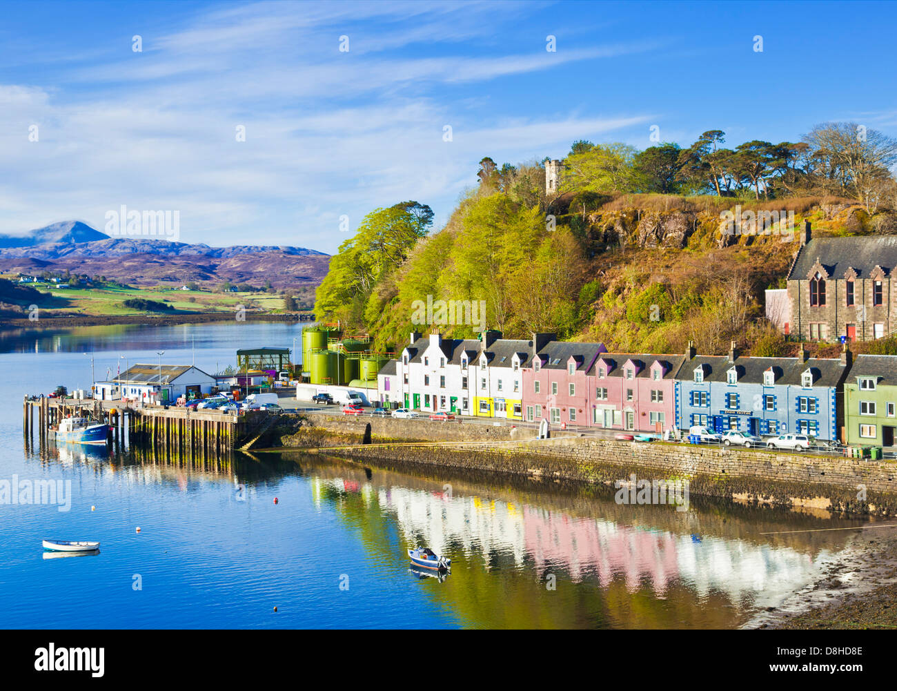 Multi-coloured houses in Portree harbour Isle of Skye Highlands and Islands Scotland UK GB EU Europe - Stock Image