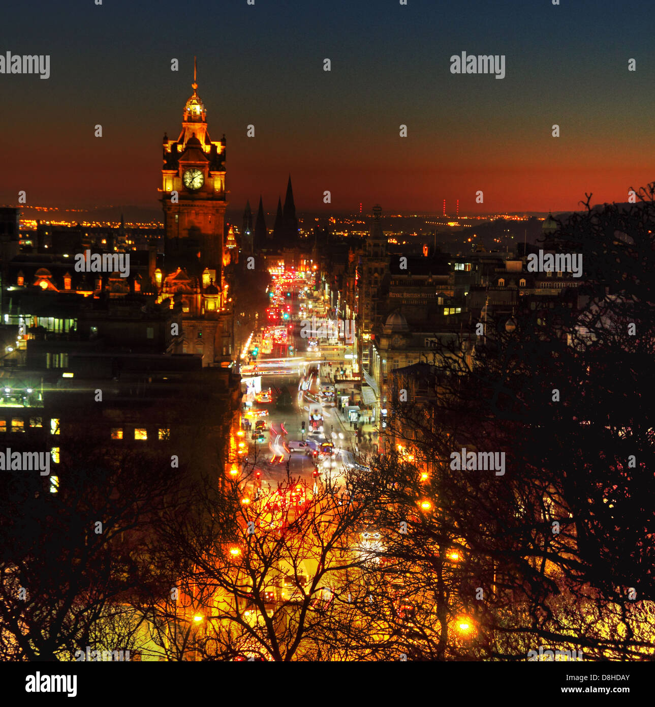 Edinburgh City at Night Princes St dusk glow from early evening traffic, Calton Hill - Stock Image