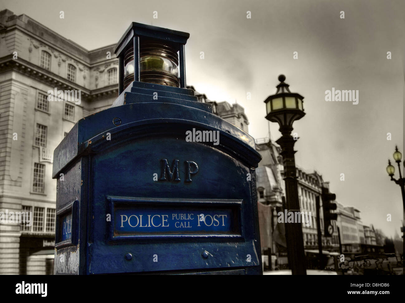 Blue Police Public Call Box London Dr Who , Piccadilly, England UK - Stock Image