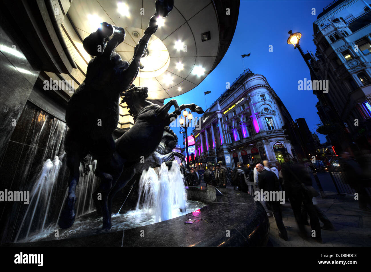 The Horses of Helios by Rudy Weller Haymarket near Piccadilly Circus London at dusk - Stock Image