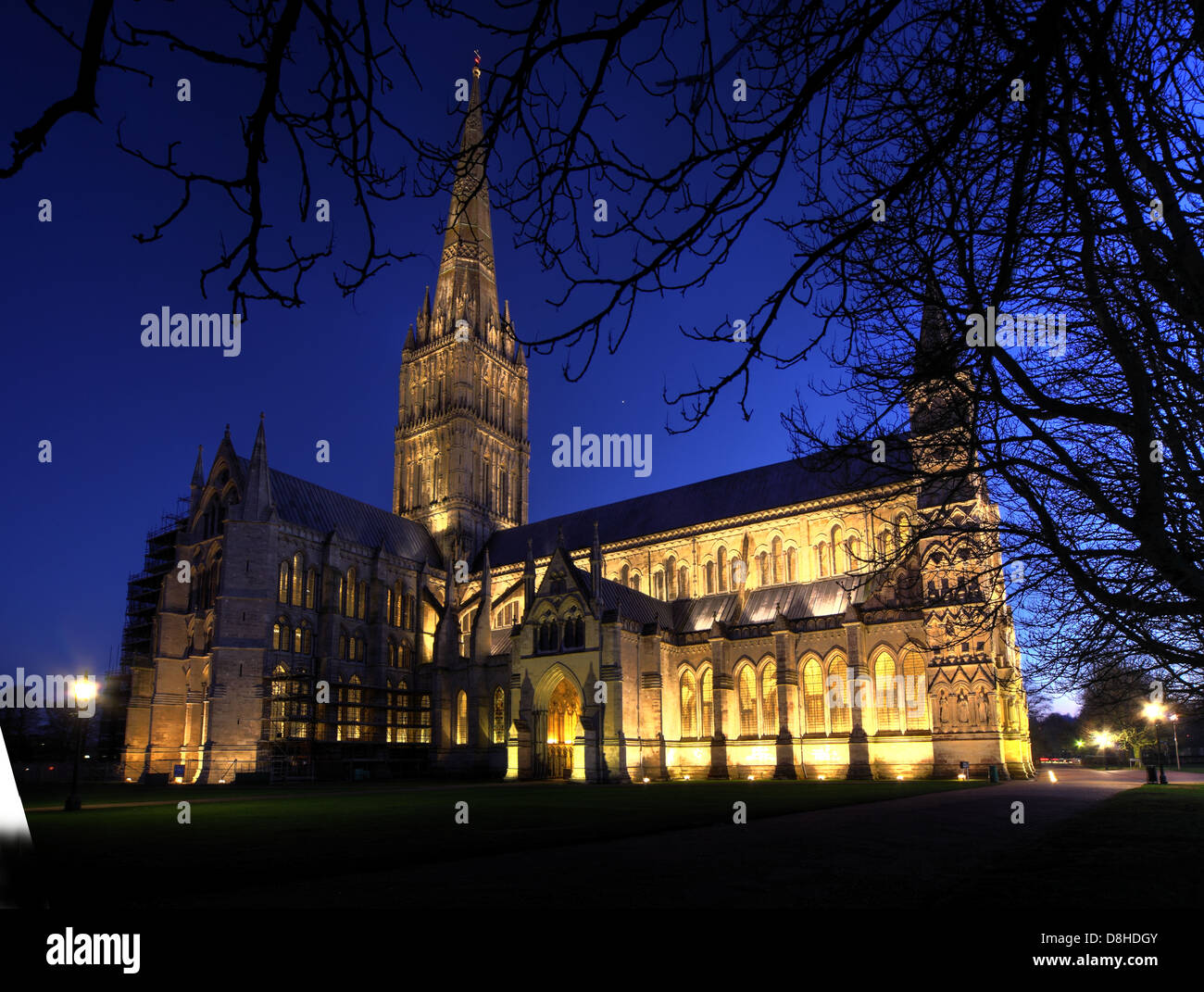 Salisbury Cathedral at dusk in the winter - Stock Image