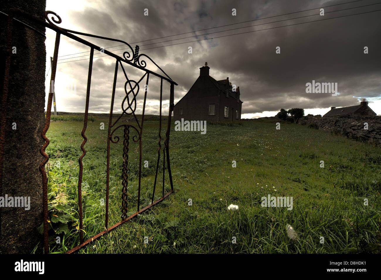 Ruined western isles cottage, Barvas Lewis, Western Isles , Scottish Highlands, Scotland, UK - Stock Image