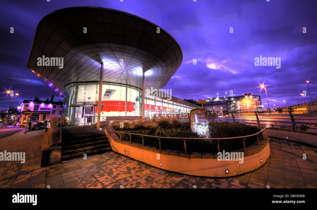 Warrington Bus Station / Golden square at dusk , Cheshire, NW England UK - Stock Image