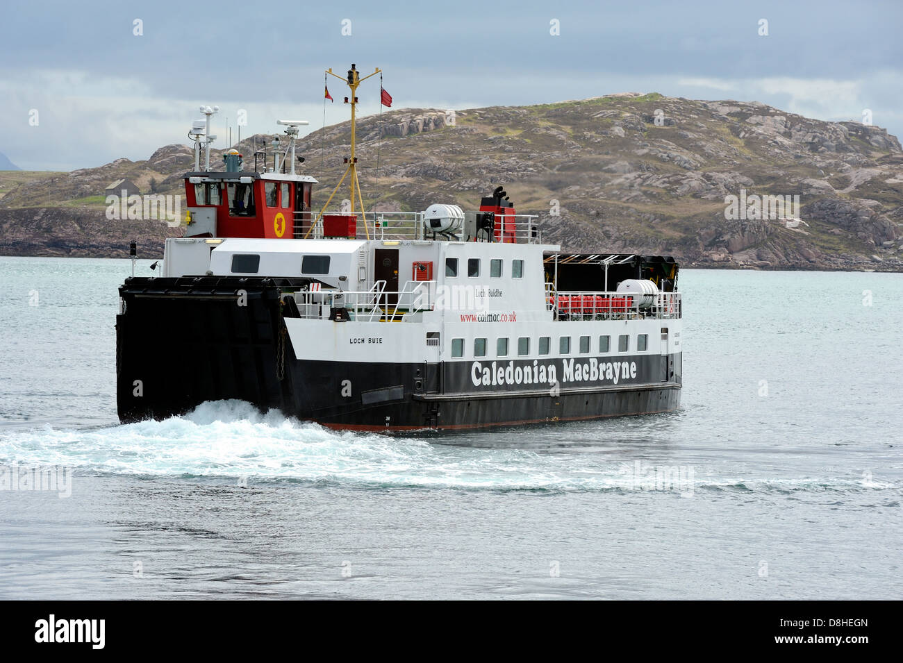 The loch buie ferry transporting tourist and islanders across the sound of iona from iona to the isle of mull. - Stock Image