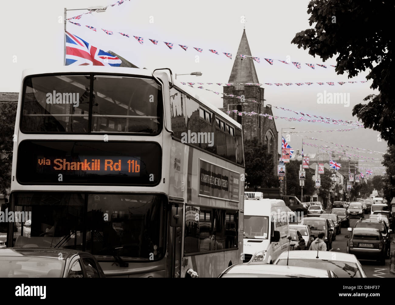 A bus journey down the Shankill Road , a very British and Unionist area of Belfast Stock Photo