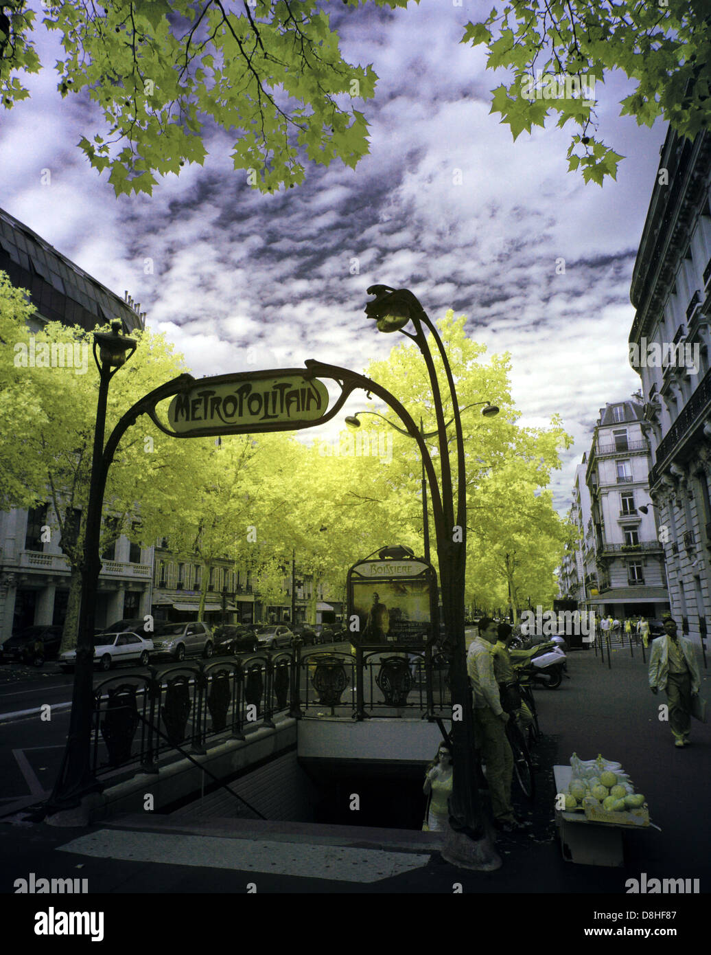 An Art Nouveau Paris metro station entrance taken with an IR Infra-Red adapted Canon 5D camera, France, Europe - Stock Image