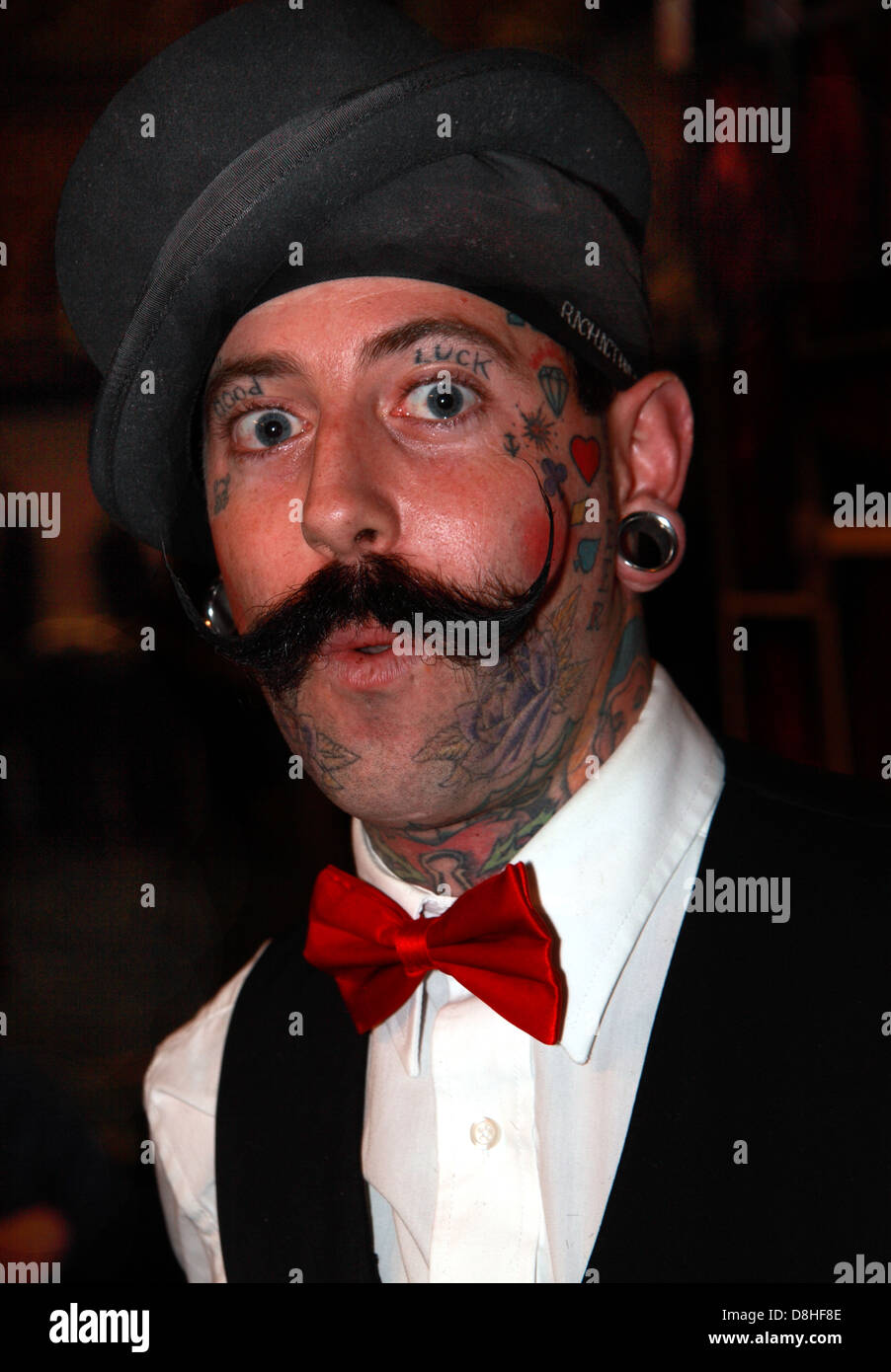 Richie The Barber, a tattooed faced man at Manchester tattoo convention , England, UK - Stock Image