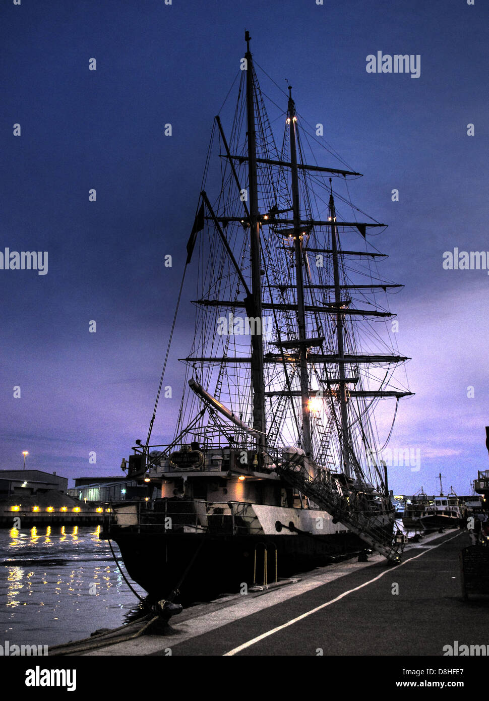 Lord Nelson Tenacious JST Historic sailing Ship Poole Harbour Dorset, England, UK at dusk - Stock Image