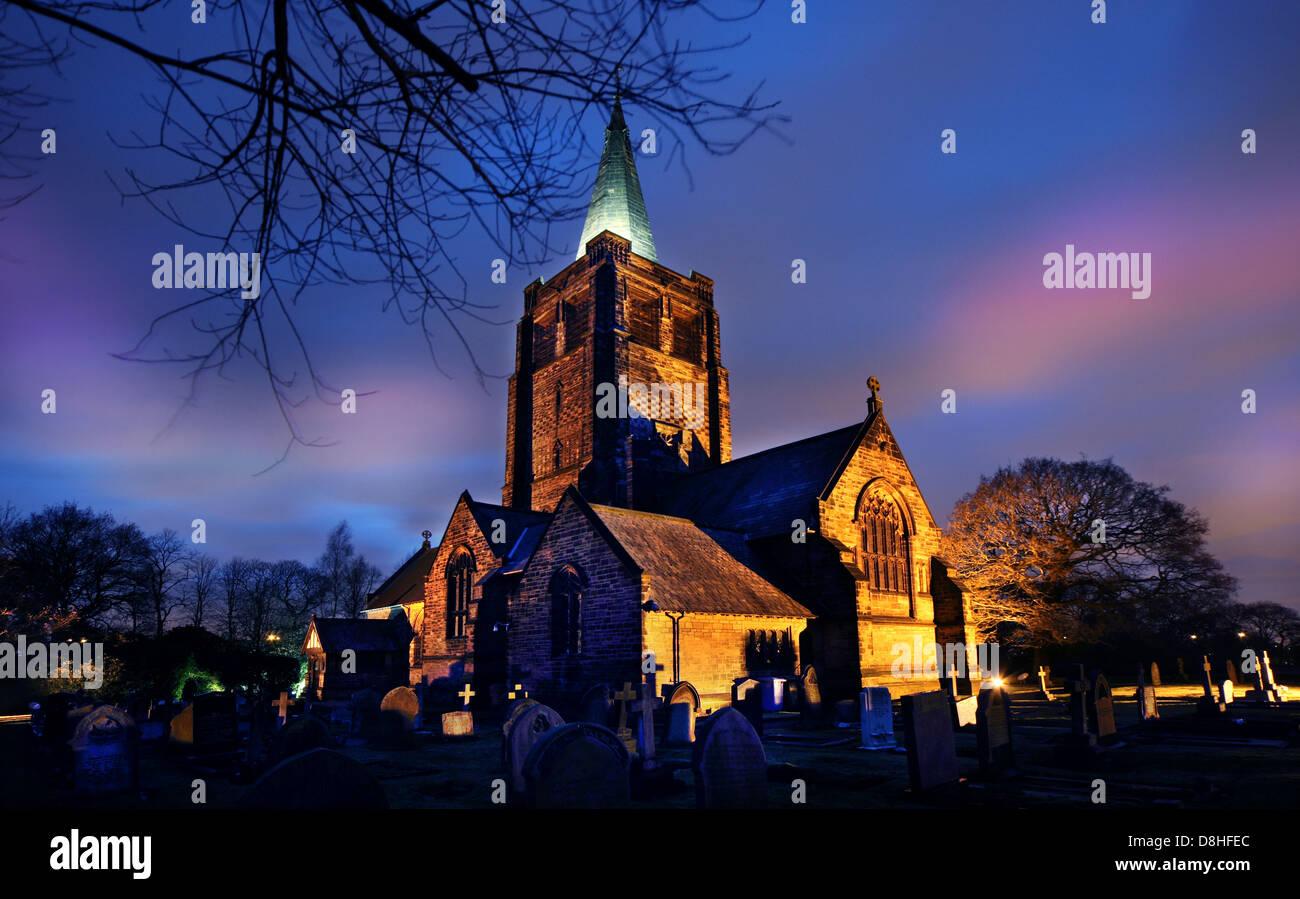 The church at Walton, Warrington Dusk North West England UK - Stock Image