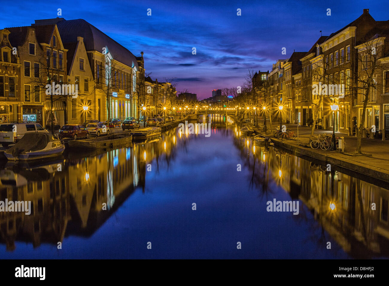 holland suffer city blue hour channel - Stock Image