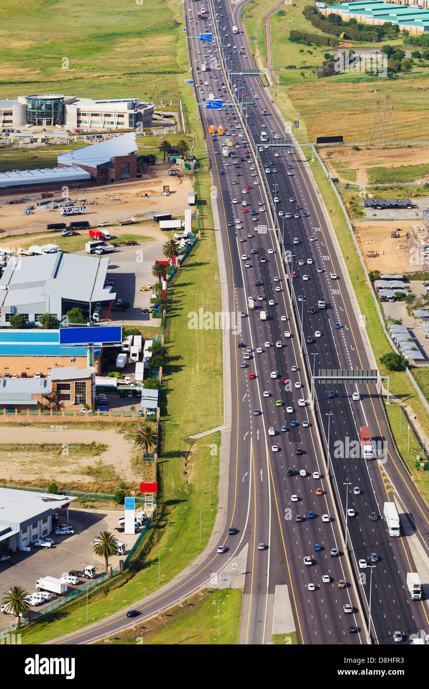 Aerial view of the N1 highway.Johannesburg.South Africa - Stock Image