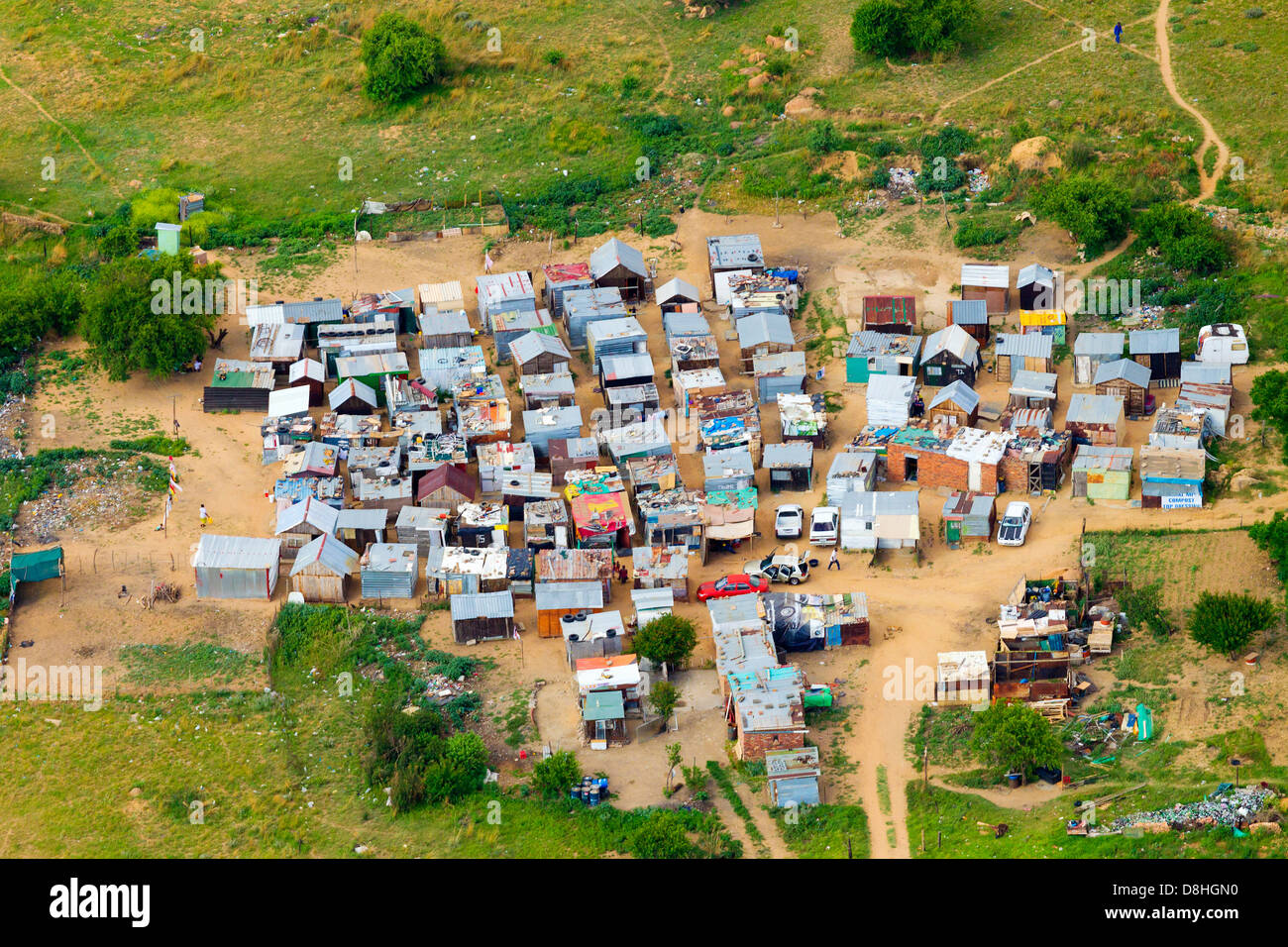 Aerial view of an informal settlement Johannesburg South Africa - Stock Image